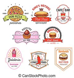 Fast food cafe, pizzeria, pastry shop badge set - Fast food...