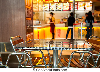 Seats and table at Chinese fast food resturant, shallow focus