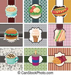fast-food, cartone animato, scheda