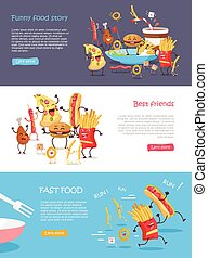 Fast Food Cartoon Characters Banner Set