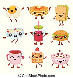 Fast food cartoon characters set, delicious dishes and drinks with smiling faces vector Illustration on a white background