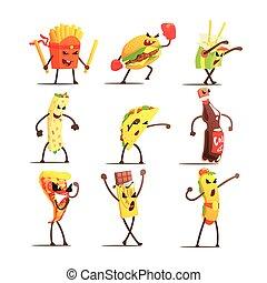 Fast Food Cartoon Characters Set