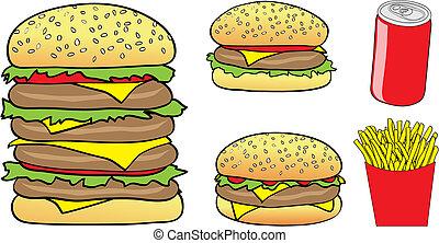 fast food cartoon - Vector Illustration of Cartoon Burgers,...