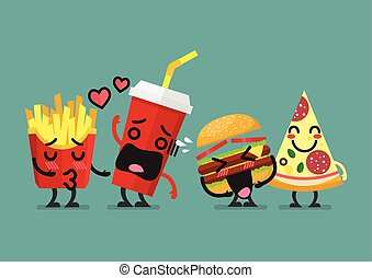 Fast food characters friendship