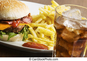 fast food - Cheeseburger with fries and  soft drink