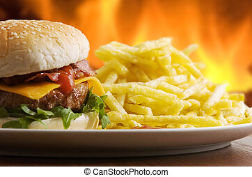 fast food - Cheeseburger with fries