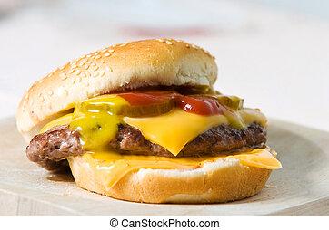 fast food - Cheeseburger with pickles ketchup and mustard