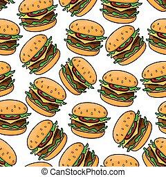 Fast food cheeseburgers seamless pattern