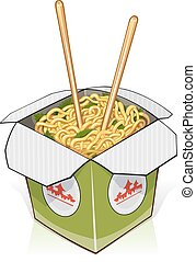 Fast food. Chinese noodles in take out container
