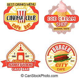 Fast food cinema bistro snacks vector iocns