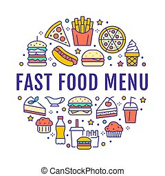 Fast food circle illustration with flat line icons. Thin vector signs for restaurant menu poster - burger, pizza, hot dog, french fries, soda, muffin, coffee, ice cream. Junk food colored concept
