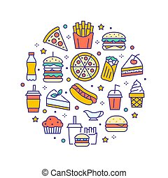 Fast food circle illustration with flat line icons. Thin vector signs for restaurant menu poster - burger, french fries, soda, pizza, hot dog, cheesecake, coffee, ice cream. Junk food colored concept