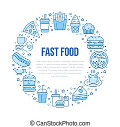 Fast food circle illustration with flat line icons. Thin vector signs for restaurant menu poster - burger, french fries, soda, cheesecake, coffee, pizza, hot dog, ice cream, muffin