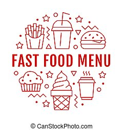 Fast food circle illustration with flat line icons. Thin vector signs for restaurant menu poster - burger, french fries, soda, muffin, coffee, ice cream. Junk food concept
