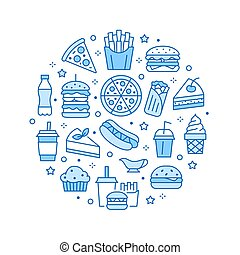 Fast food circle illustration with flat line icons. Thin vector signs for restaurant menu poster - burger, french fries, soda, pizza, hot dog, cheesecake, coffee, ice cream