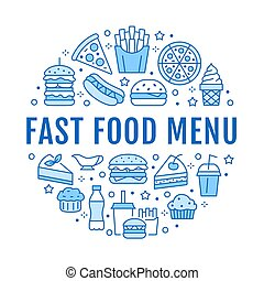 Fast food circle illustration with flat line icons. Thin vector signs for restaurant menu poster - burger, pizza, hot dog, french fries, soda, muffin, coffee, ice cream
