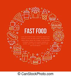 Fast food circle illustration with flat line icons. Thin...