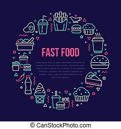 Fast food circle illustration with flat line icons. Thin vector signs for restaurant menu poster - burger, french fries, soda, salad, cheesecake, coffee, ice cream, muffin. Junk food concept