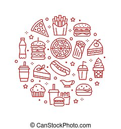 Fast food circle illustration with flat line icons. Thin vector signs for restaurant menu poster - burger, french fries, soda, pizza, hot dog, cheesecake, coffee, ice cream. Junk food concept
