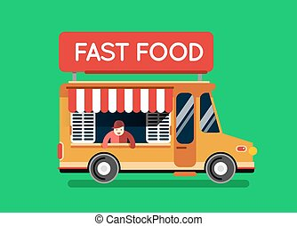 Fast food city car. Food truck, auto cafe, mobile kitchen, hot fastfood. Design elements. Isolated on white. Street food car. Foodtruck Street food van.