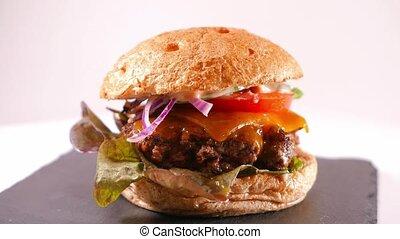 Fast Food - close up shot of a Cheeseburger