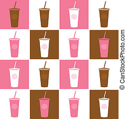 Fast food coffee cup background texture - pink and brown -...