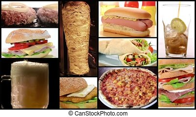 fast food collage - Collage including raw burgers, cooked...