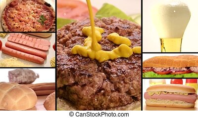 fast food - Collage including raw burgers, cooked burgers ...