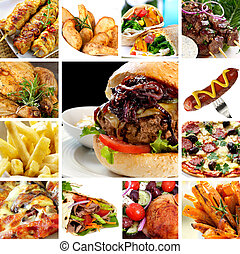 Fast Food Collection - Collage of fast food items, including...