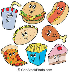 Fast food collection - vector illustration.