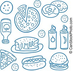 Fast food collection of doodles