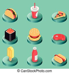 Fast food color isometric icons