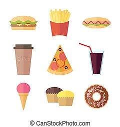 Fast food colorful flat design icons set