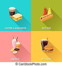fast food colorful flat design set. Vector illustration, eps10.