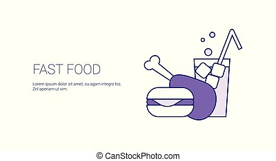 Fast Food Concept Template Web Banner With Copy Space