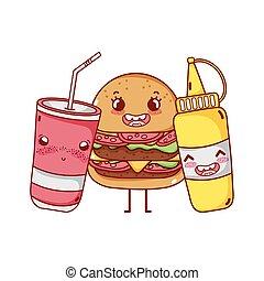 fast food cute burger mustard and takeaway cup soda cartoon