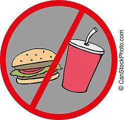 Fast food danger label .No food. Vector illustration.