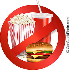 Fast food danger label. Vector