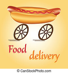 Fast food delivery - Hot dog on wheels as idea of fast food...