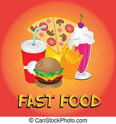 fast food design over orange background vector illustration