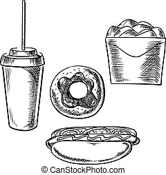 Fast food, dessert and drink sketch icons - Fast food...