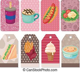 fast-food, dessin animé, carte