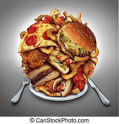 Fast Food Diet - Fast food diet concept served on a plate as...
