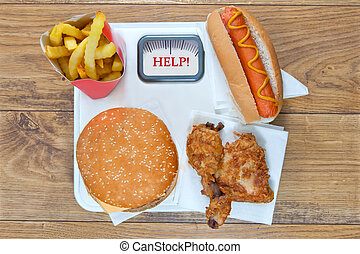 Fast food diet - Various types of junk food including fried...