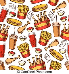 Fast food dinner seamless pattern