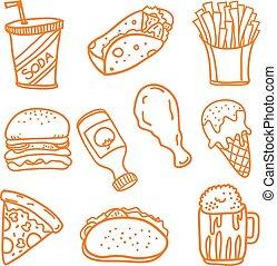 Fast food doodle set vector art