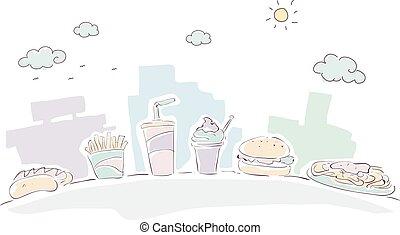 Fast Food Doodle Sketch