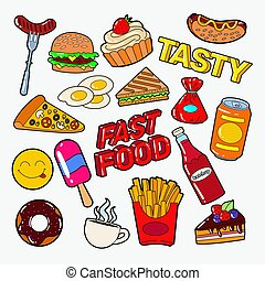 Fast Food Doodle with Pizza, Burger and Fries. Junk Unhealthy Eating. Vector illustration