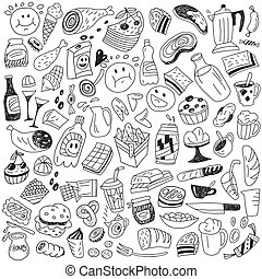 fast food doodles - fast food - icons in sketch style set