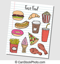 Fast food doodles - lined paper